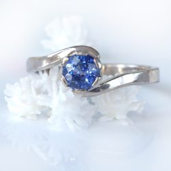 Lilia Nash Bespoke Blue Sapphire Swirl Engagement Ring