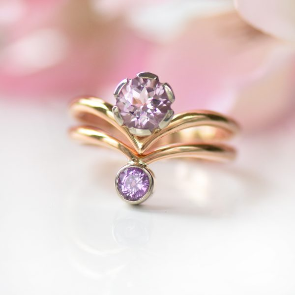 rose gold morganite and sapphire stacking ring