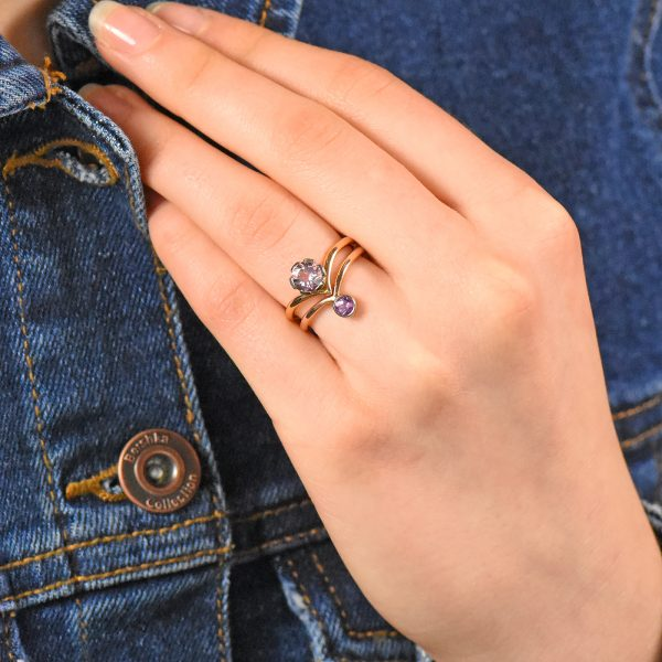 morganite and sapphire stacking ring