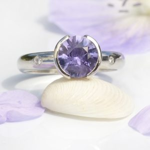 Purple Sapphire Tulip Ring in White Gold