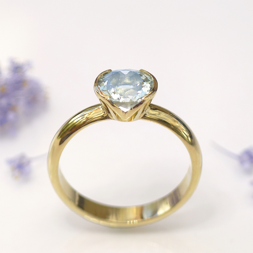 Lilia Nash Bespoke Aquamarine Engagement RIng