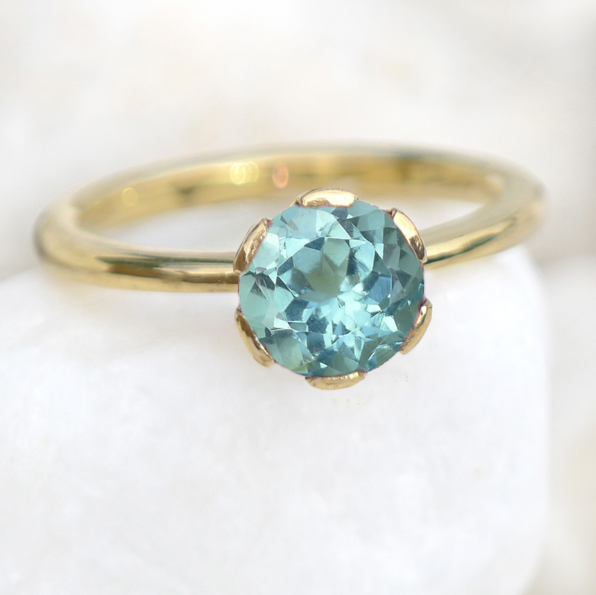 Lilia Nash Custom Made Blue Green Tourmaline Engagement Ring