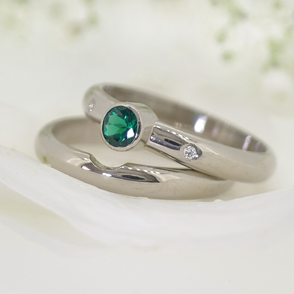 Lilia Nash Bespoke Emerald and Diamond Engagement Ring
