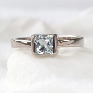 princess cut aquamarine ring