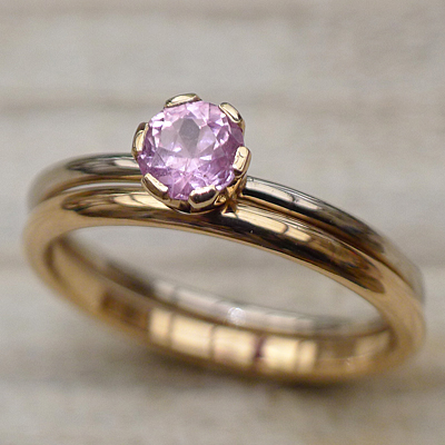 Lilia Nash Bespoke Rose Gold Sapphire Ring