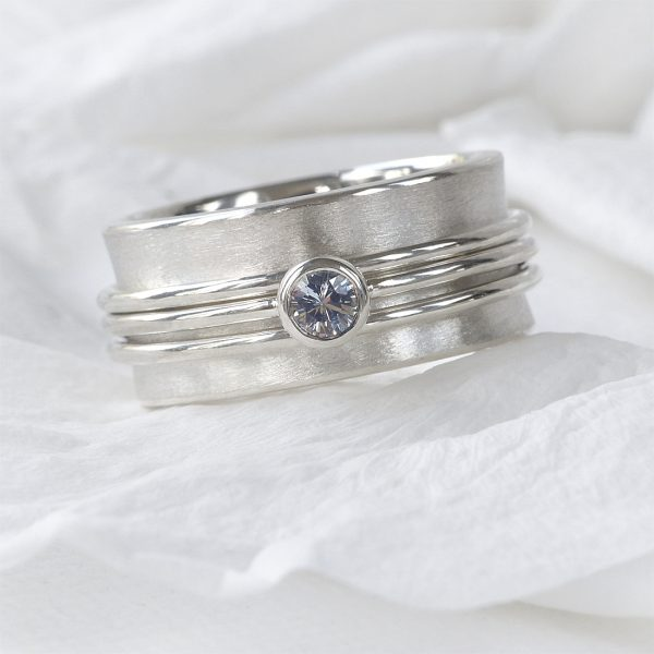 white sapphire spinning ring