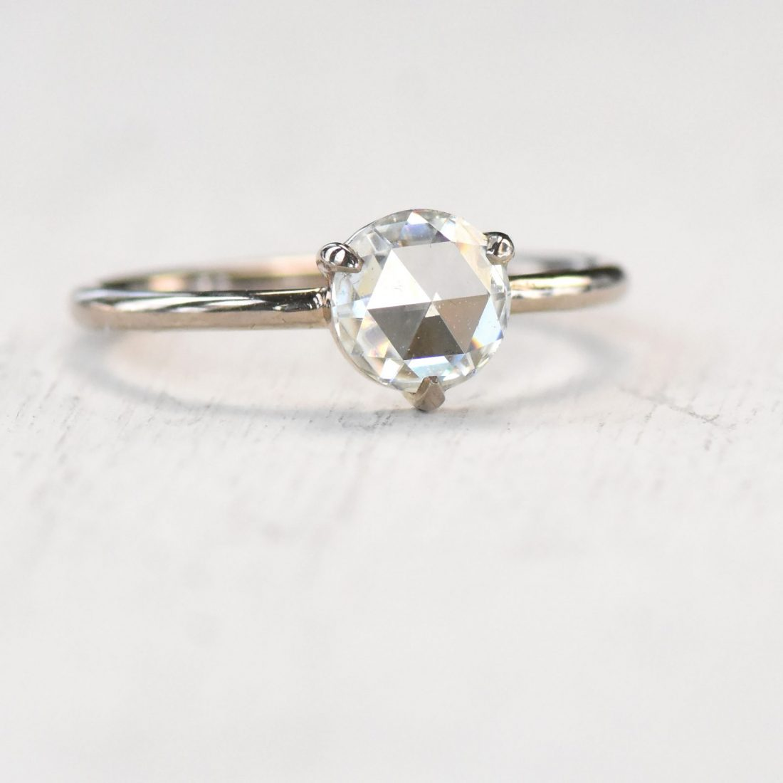 rose cut moissanite ring