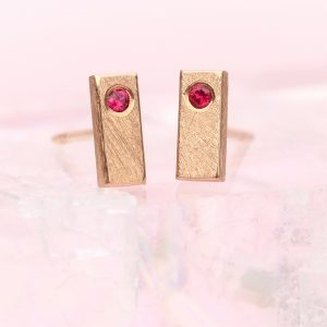 rose gold ruby bar studs