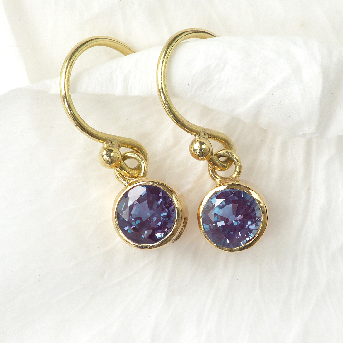 Alexandrite Earrings In 18ct Gold