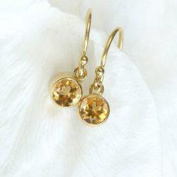 Citrine Earrings in 18ct Gold