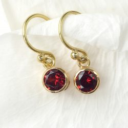 Garnet Earrings in 18ct Gold