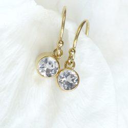 White Topaz Earrings in 18ct Gold