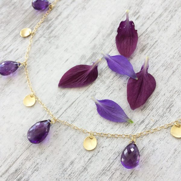 amethyst drop necklace
