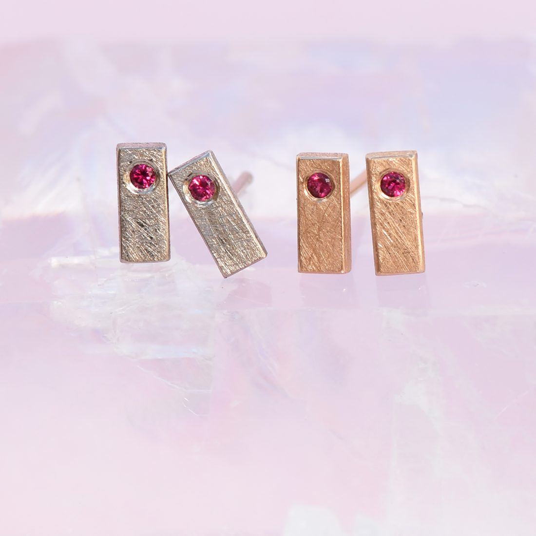18ct white gold & rose gold ruby stud earrings