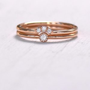 diamond milgrain ring set in rose gold