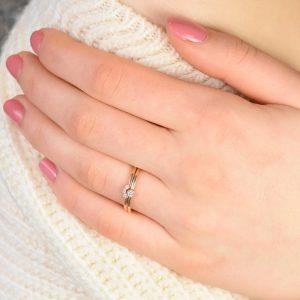 diamond milgrain ring set in rose gold