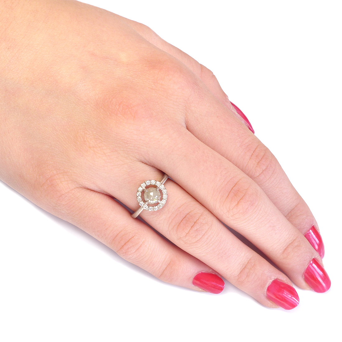 Rose Cut Diamond Halo Ring, Size L | In Stock Engagement Rings ...
