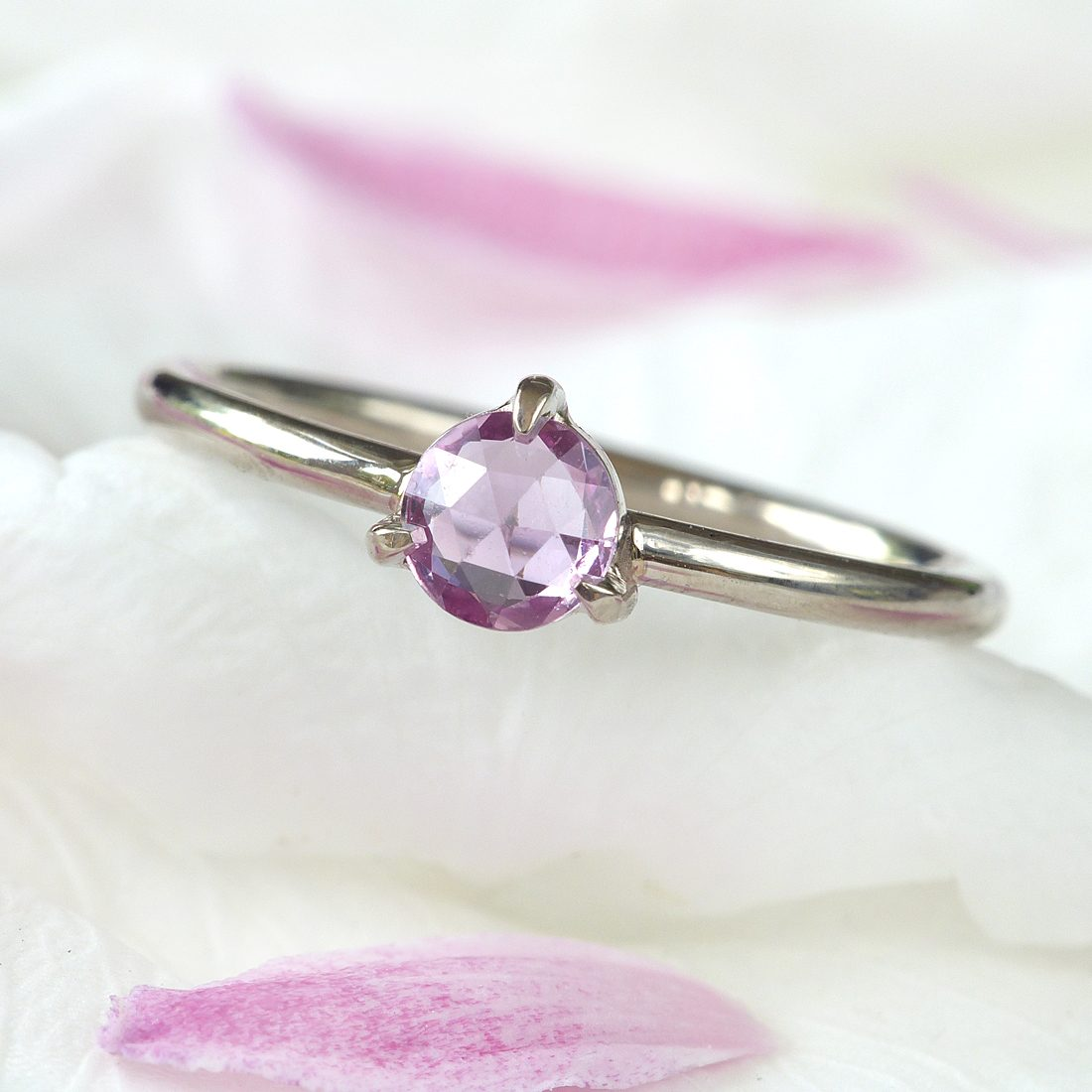 rose cut pink sapphire ring