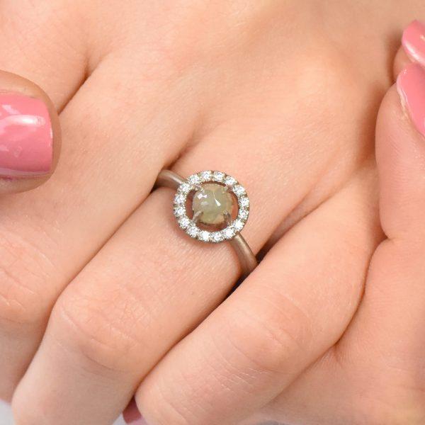 rose cut diamond halo ring