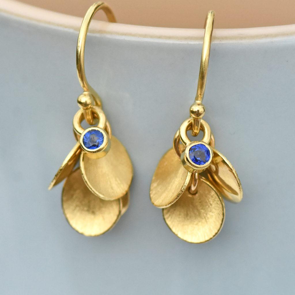 blue sapphire petal earrings
