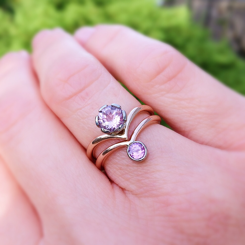 morganite and sapphire stacking rings