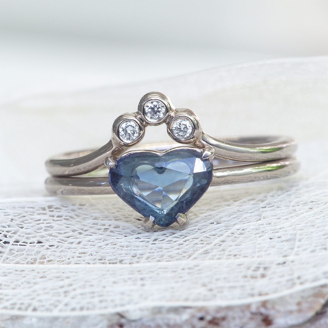 sapphire heart and diamond ring set