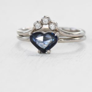sapphire heart ring set