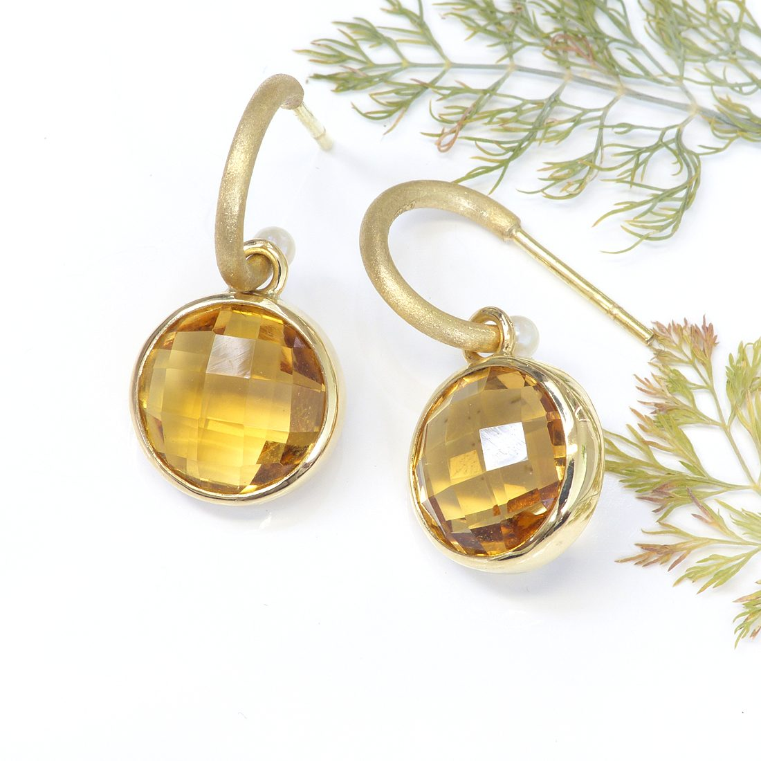 honey quartz and sea pearl earring