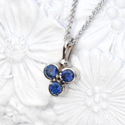 sapphire trefoil pendant
