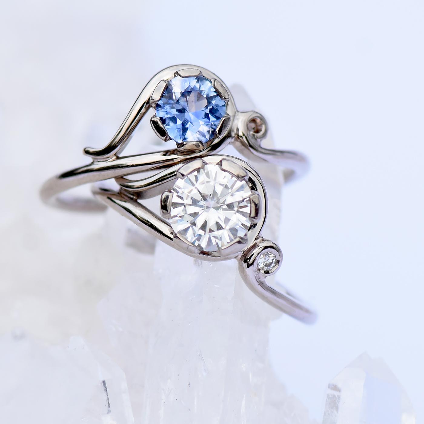 moissanite art nouveau inspired ring gold or platinum lilia nash