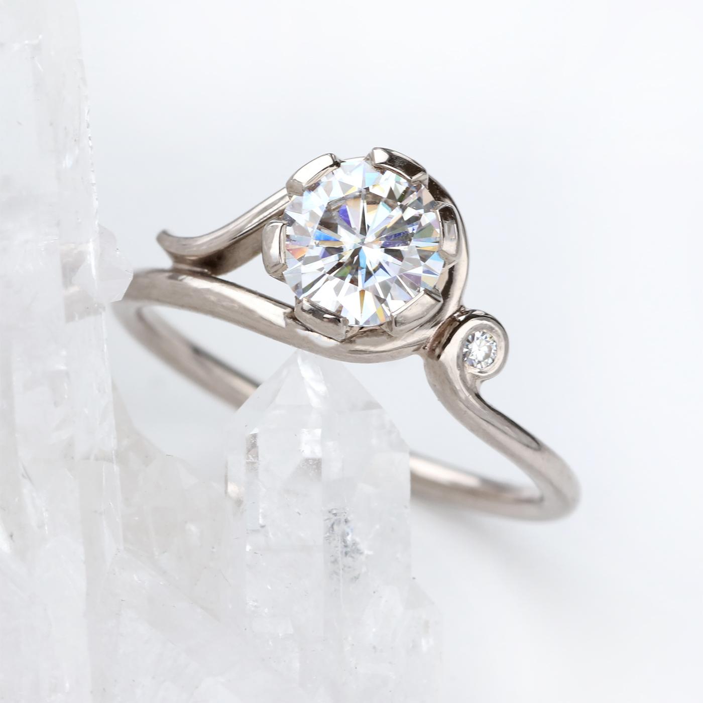 082fb8e6055cce Moissanite Art Nouveau Inspired Ring (Gold or Platinum) – Lilia Nash