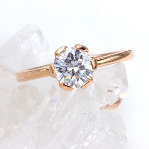 moissanite engagement ring with flower design