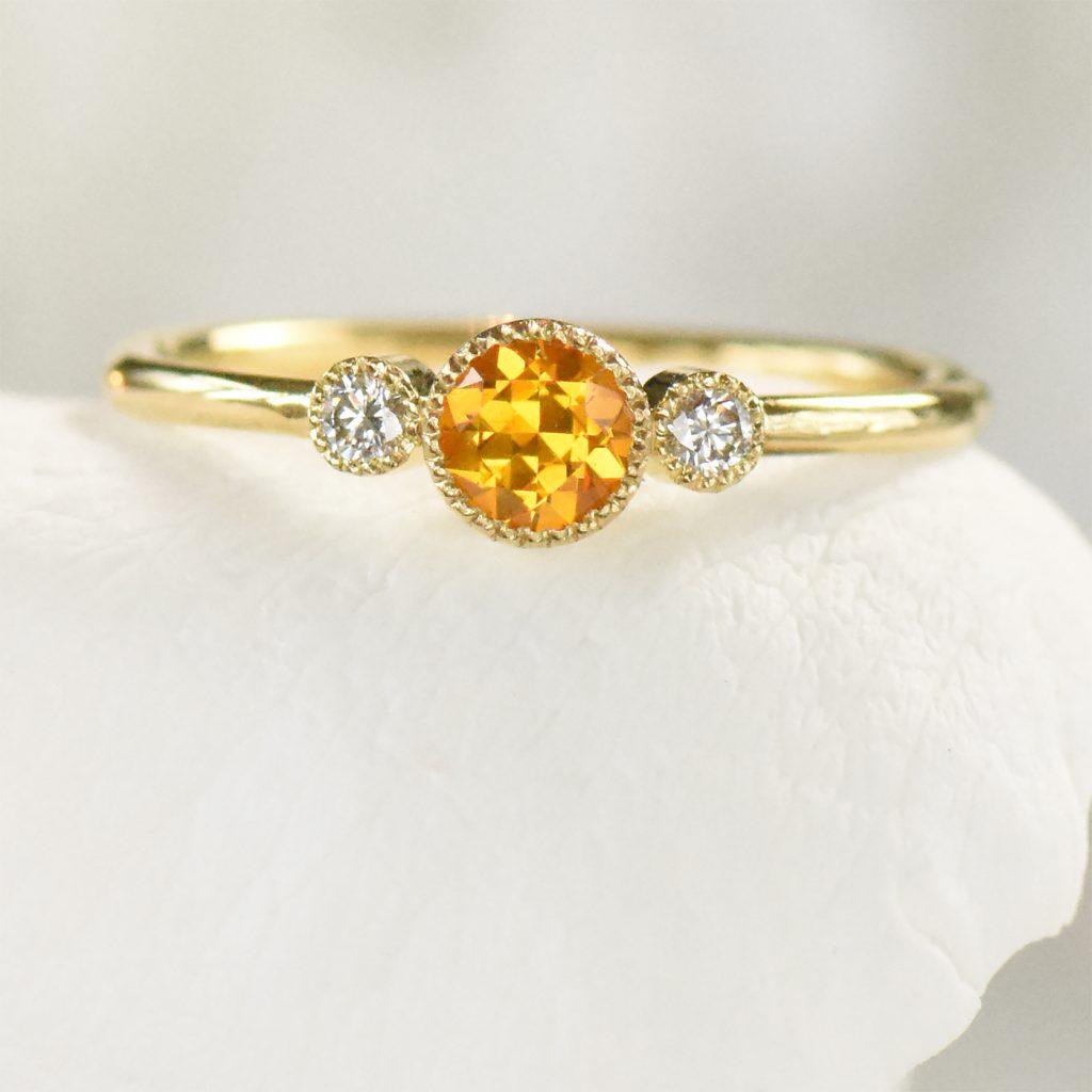 honey sapphire diamond ring