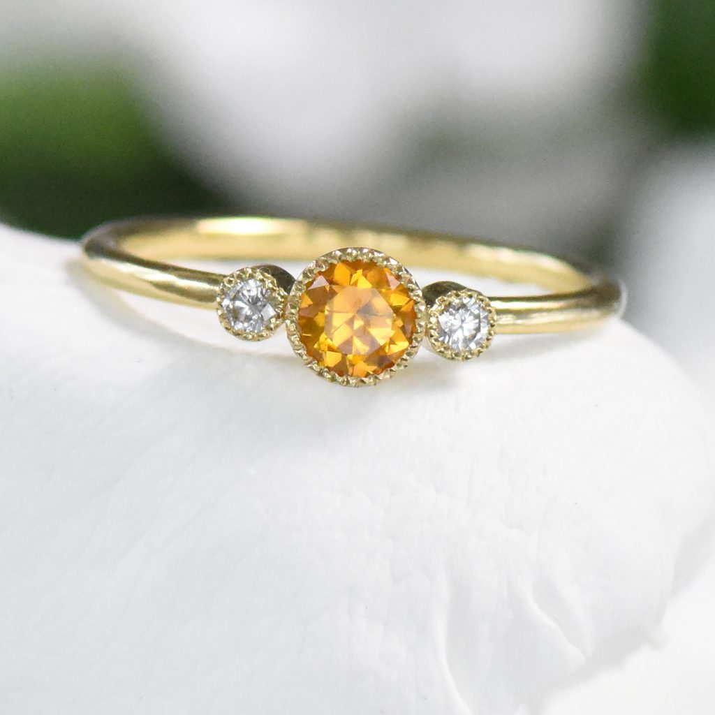 honey sapphire diamond engagement ring