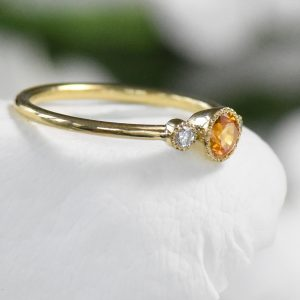 honey sapphire diamond engagement ring