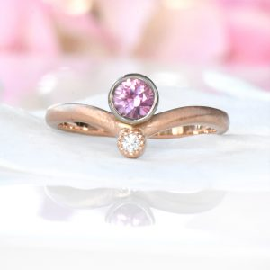 pink sapphire diamond sweetheart ring