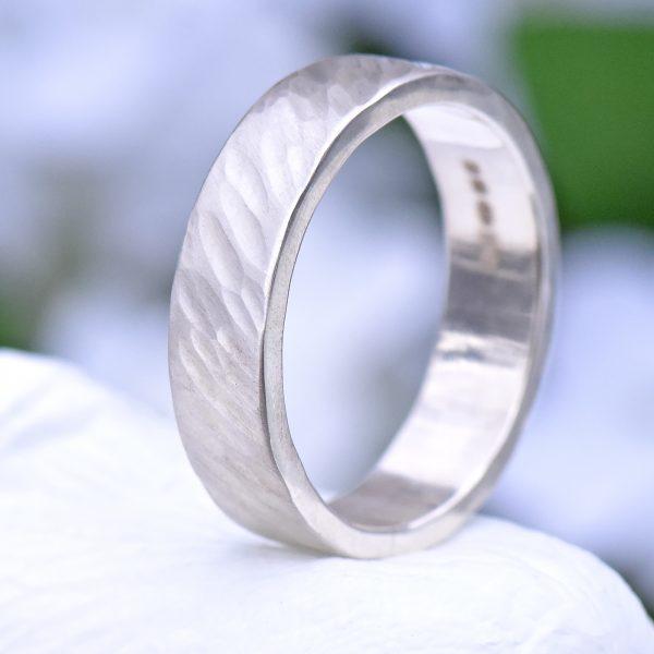 hammered silver ring, windswept design