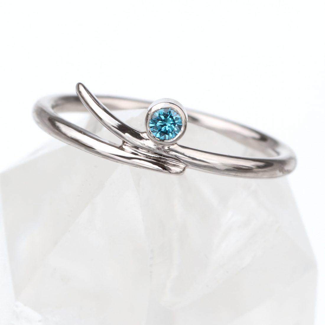 blue diamond accent ring