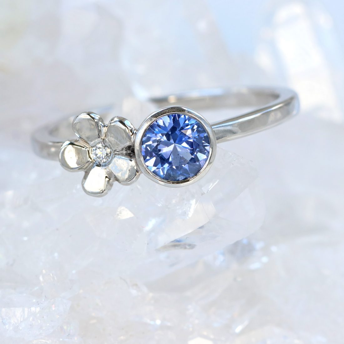 sapphire flower engagement ring