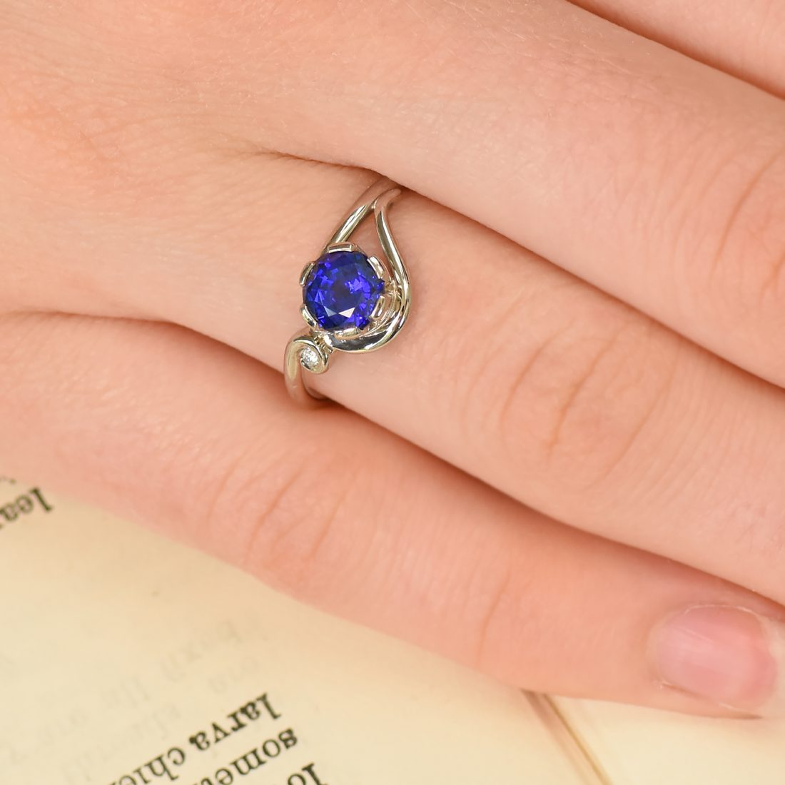 ornate blue sapphire and diamond ring
