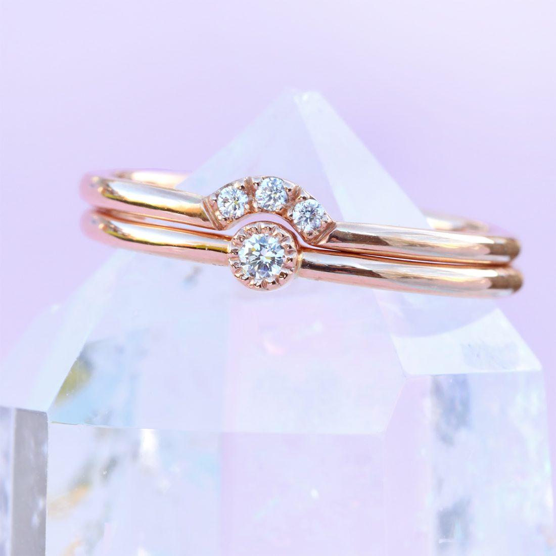 rose gold diamond ring set