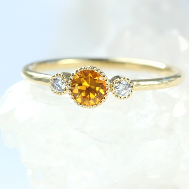 honey sapphire diamond ring