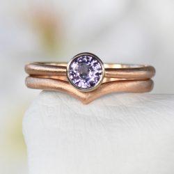 purple sapphire wishbone engagement ring set
