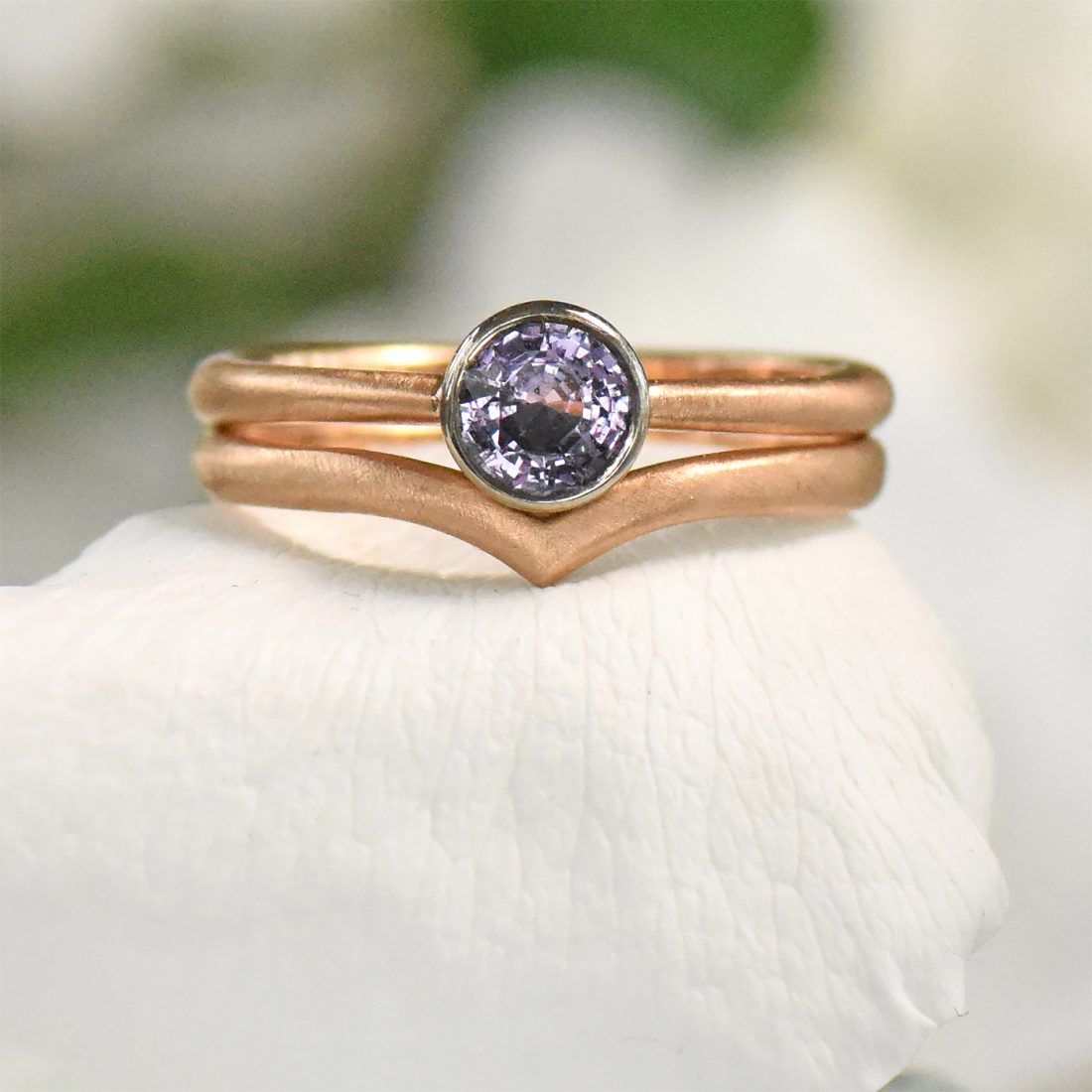 rose gold purple sapphire wishbone engagement ring set