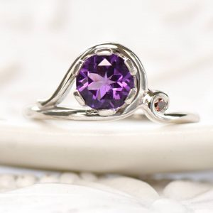 Amethyst and Garnet Accent Art Nouveau Style Ring