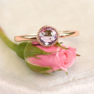 rose gold violet sapphire ring