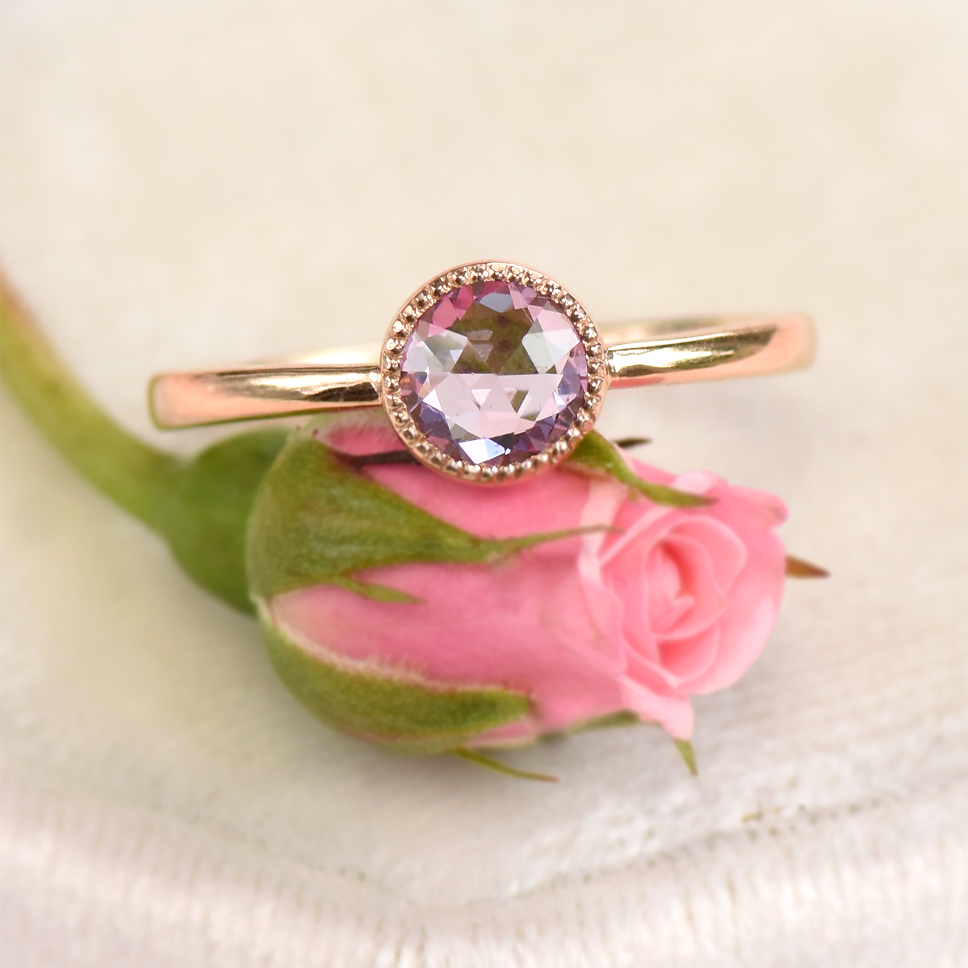18ct Rose Gold Violet Pink Rose Cut Sapphire Ring - Size L 1/2 ...