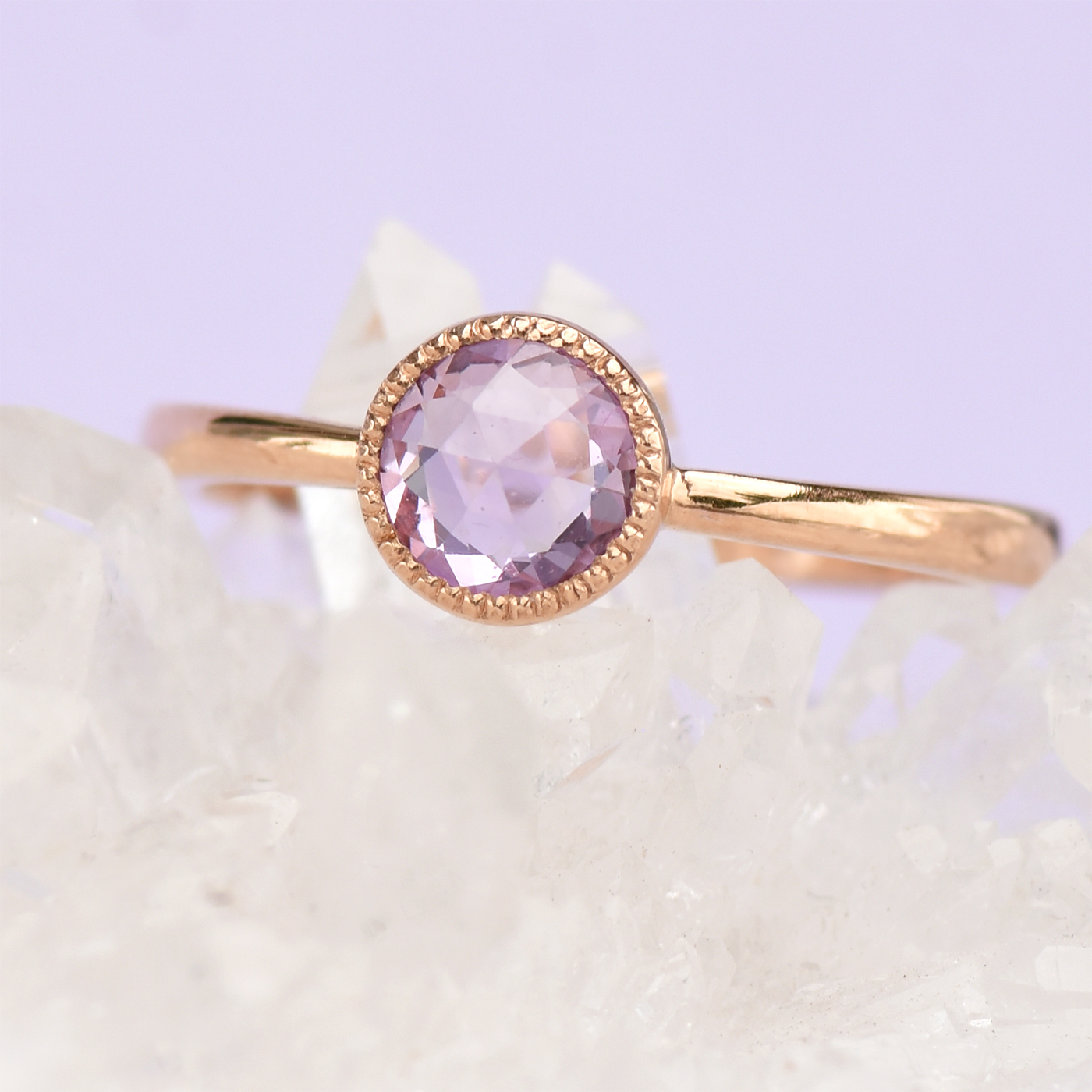 rose gold violet sapphire ring