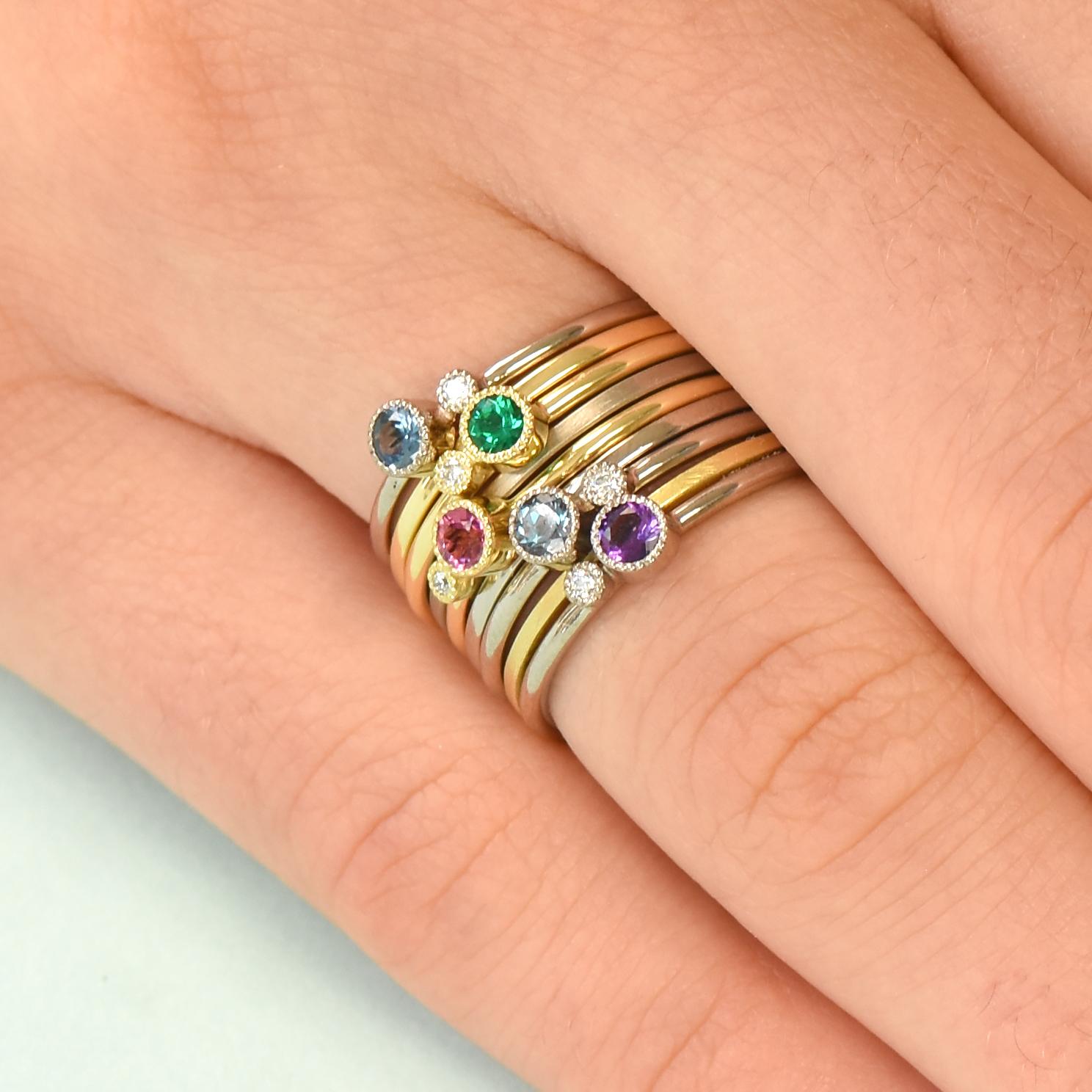 Gold birthstone ring Gold stacking ring Gemstone ring