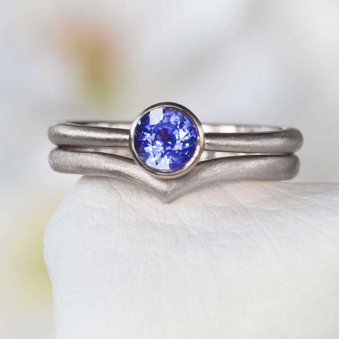 blue sapphire wishbone set